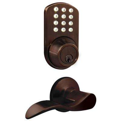 Oil Rubbed Bronze Keyless Entry Deadbolt and Lever Handle Door Lock with Electronic Digital Keypad