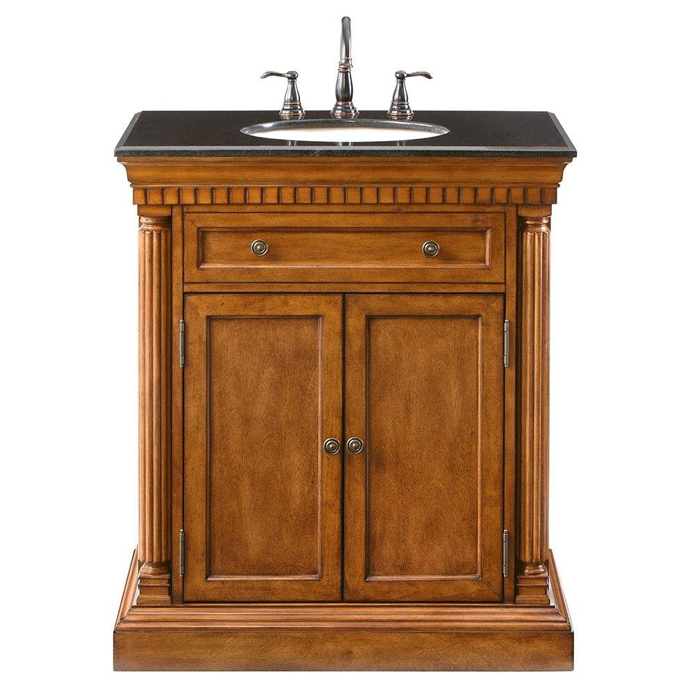 Home Decorators Collection Bradford 32 in. Vanity in Brown with Marble Vanity Top in Black