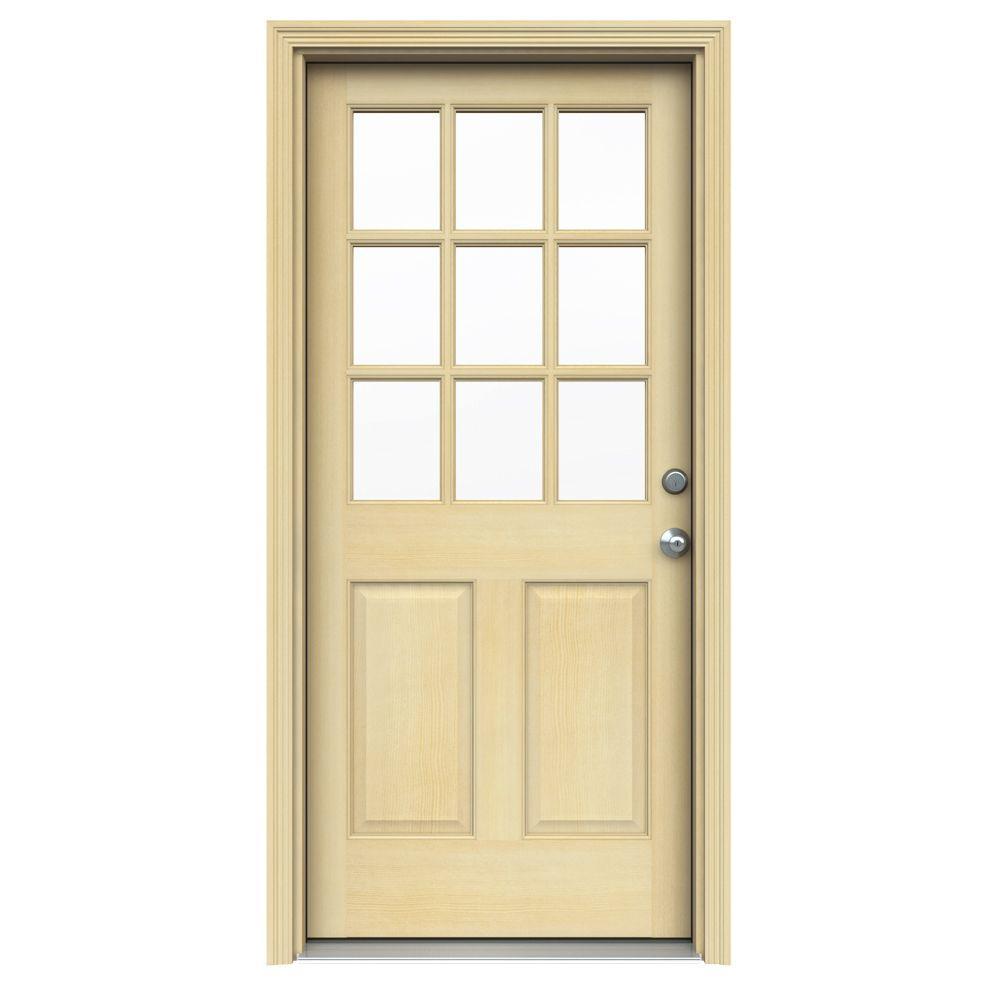 9 Lite Unfinished Hemlock Prehung Front Door with Unfinished AuraLast Jamb and Brickmold