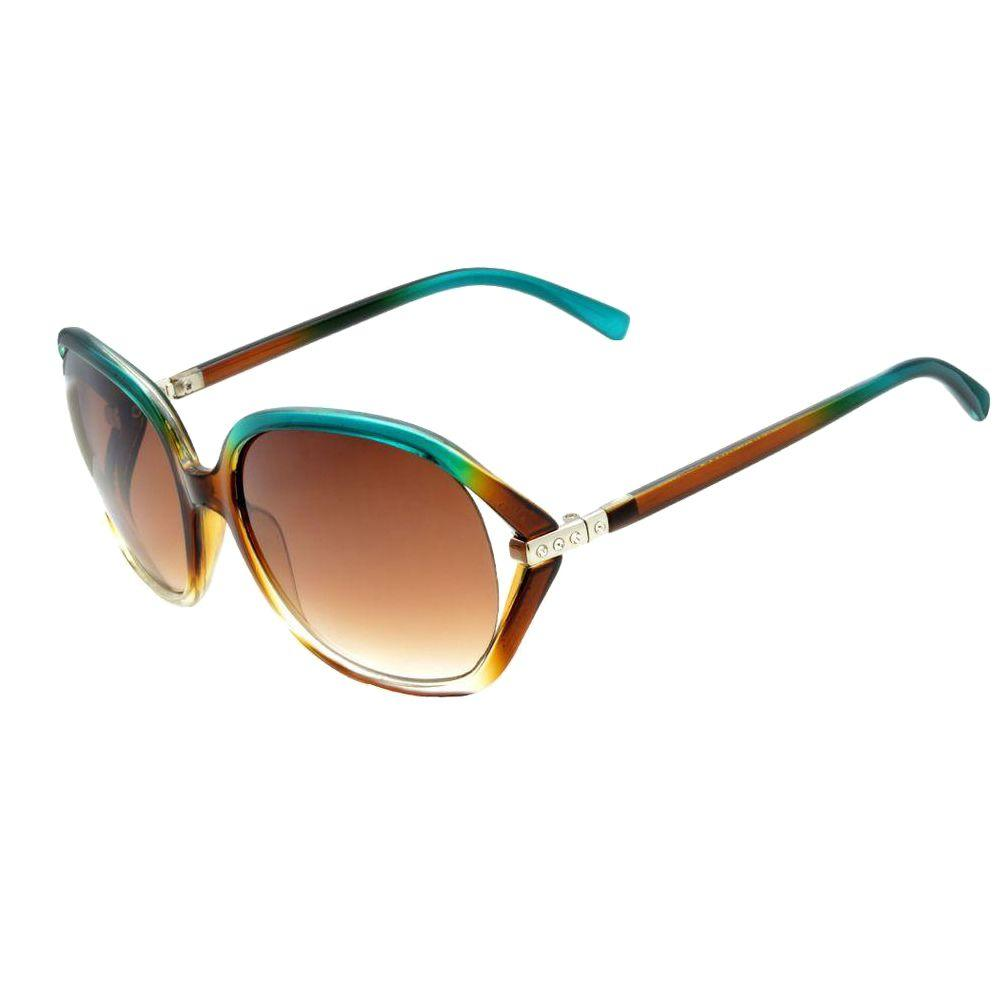 Fashion Crystal Green to Brown Icon Sunglasses