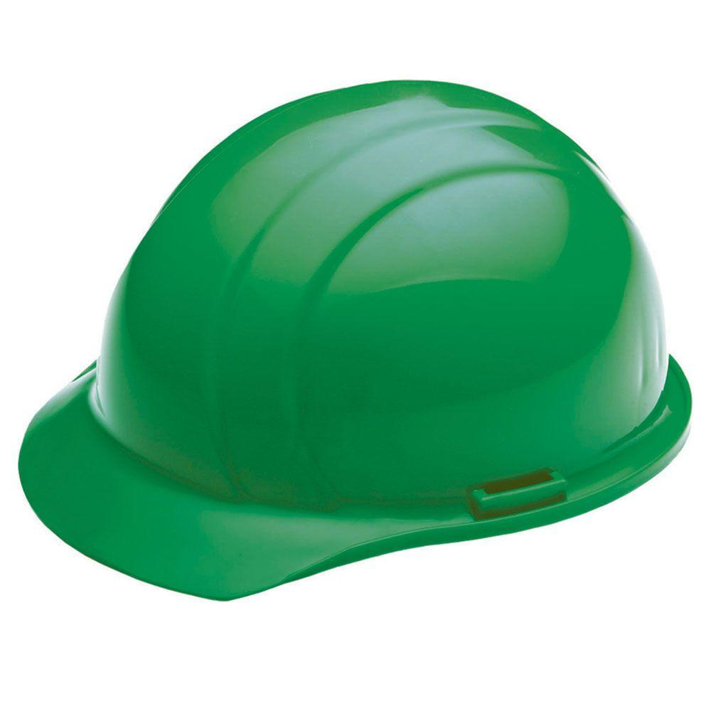 4 Point Plastic Suspension Mega Ratchet Cap Hard Hat in Green