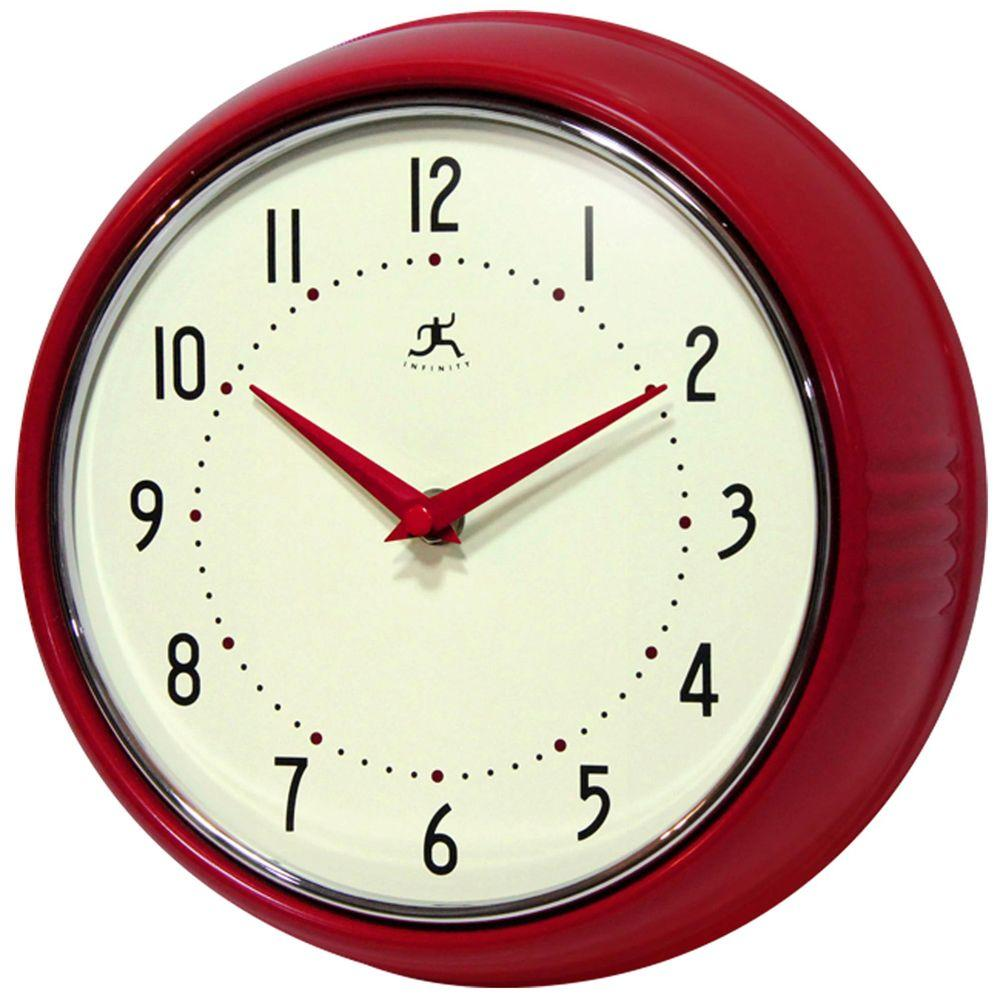 Infinity Instruments 9 1 2 In Red Retro Round Metal Wall Clock