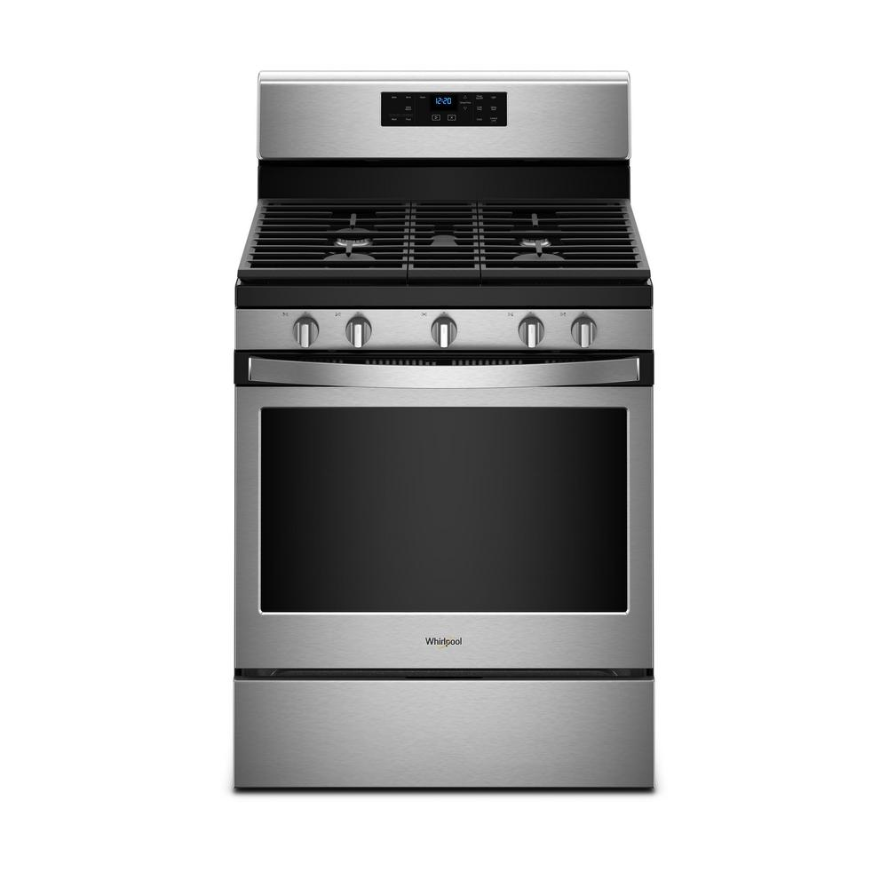 Whirlpool 5 0 Cu Ft Gas Range With Self Cleaning Oven In Fingerprint Resistant