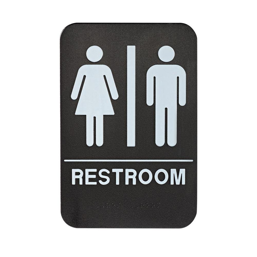 Alpine Industries 6 in. x 9 in. Black and White Unisex Restroom Sign