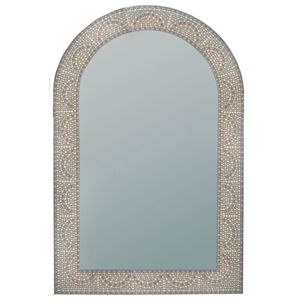 Deco Mirror 23 in. x 35 in. Earthtone Mosaic Arch Mirror