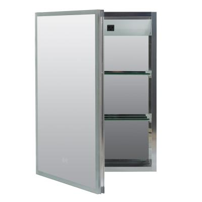 17.7 in. W x 23.5 in. H Surface Mount Edge-Lit LED Framed Mirror Medicine Cabinet in Aluminum, with Left-Hinged Door