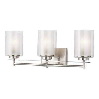 Elmwood Park 22.25 in. W 3-Light Brushed Nickel Vanity Light