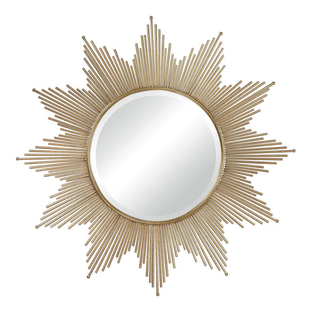 Churchfield 41 in. Round Metal Starburst Framed Mirror