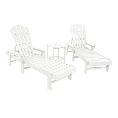 South Beach White 3-Piece Chaise Patio Seating Set