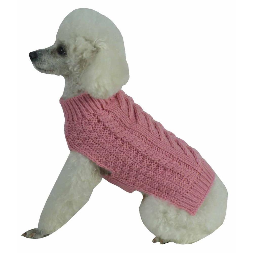 Medium Pink Swivel-Swirl Heavy Cable Knitted Fashion Designer Dog Sweater