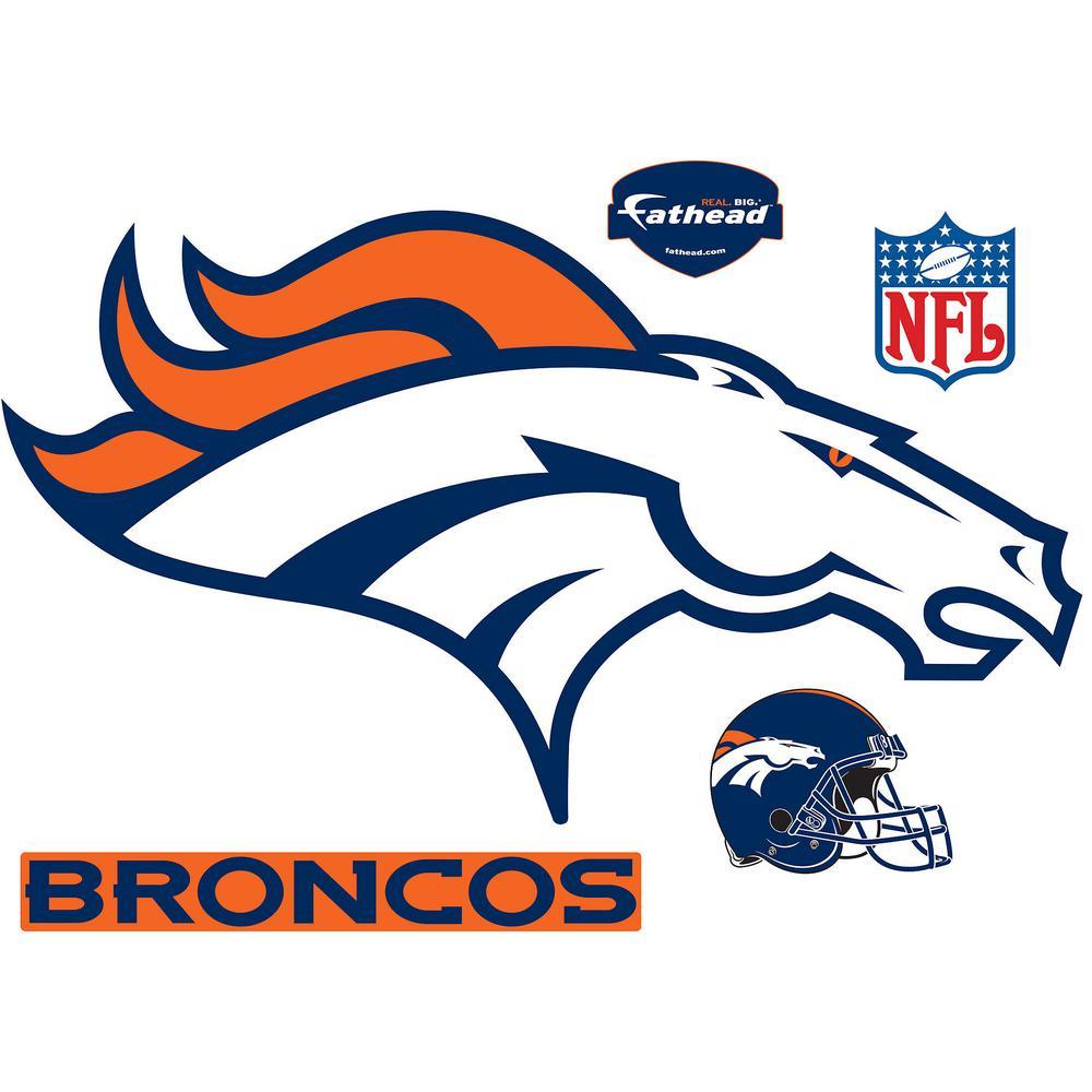 34dda99e 32 in. H x 54 in W Denver Broncos Logo Wall Mural