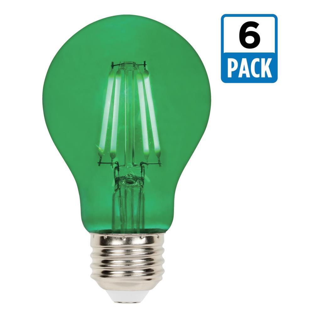 40-Watt Equivalent A19 Dimmable Green Filament LED Light Bulb (6-Pack)