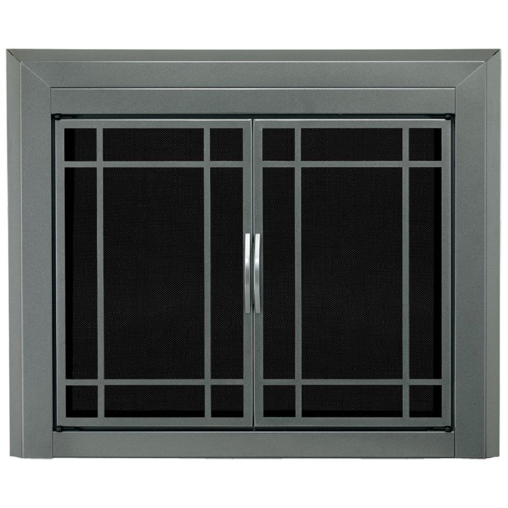 Pleasant Hearth Edinburg Large Glass Fireplace Doors Ed 5412 The