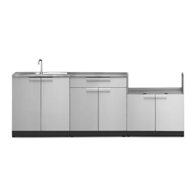 Stainless Steel 4-Piece 97 in. W x 36.5 in. H x 24 in. D Outdoor Kitchen Cabinet Set