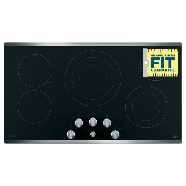 Sync Versatile Burners Red LED Backlit Knobs ADA Compliant Fits Guarantee Keep Warm Setting GE PP7036SJSS 36 Inch Smoothtop Electric Cooktop with 5 Radiant Elements Control Lock Capability