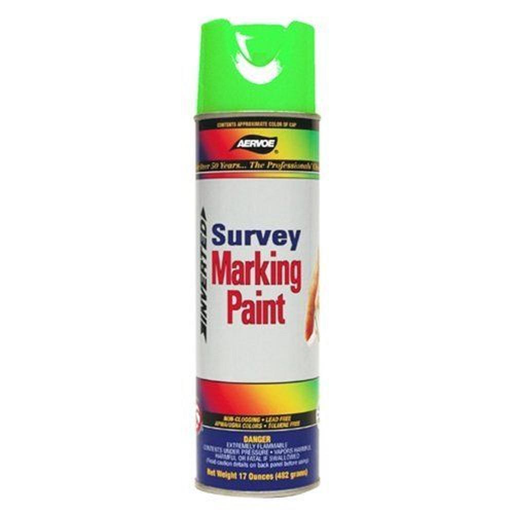 17 oz. Fluorescent Green Inverted Survey Handheld Marking Purpose Spray Paint (12-Pack)