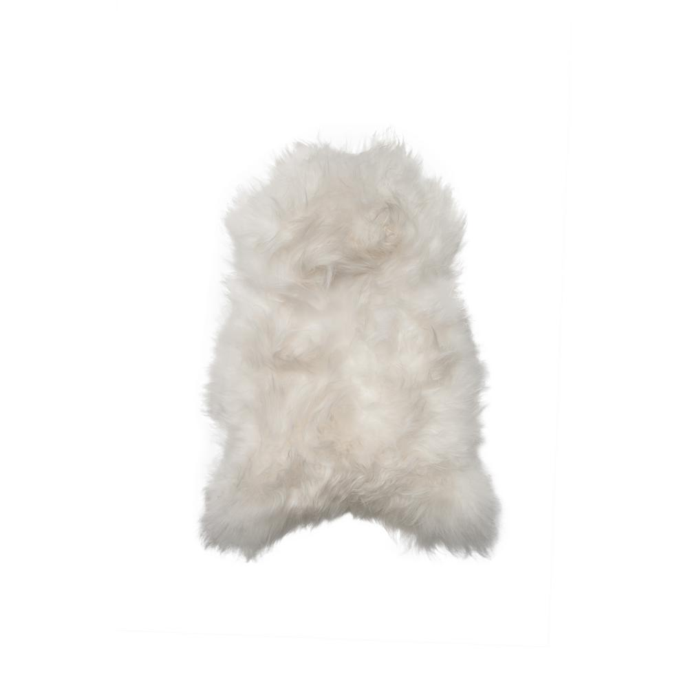 icelandic white 2 ft x 3 long haired single sheepskin area