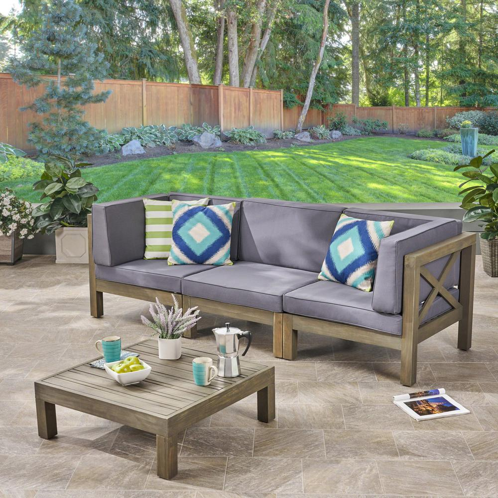 Noble House Hadlee Gray 4-Piece Wood Outdoor Sofa Set with ...