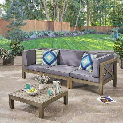 Hadlee Gray 4-Piece Wood Outdoor Sofa Set with Dark Gray Cushions