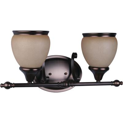 Camden 2-Light Interior/Indoor Florence Bronze Bath or Vanity Light/Wall Mount Sconce with Sandstone Glass Shades