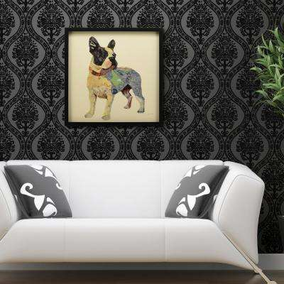 """25 in. x 25 in. """"Boston Terrier"""" Dimensional Collage Framed Graphic Art Under Glass Wall Art"""