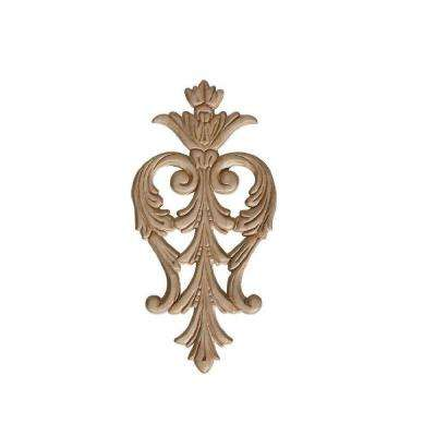 3011PK 7/32 in. x 4-5/8 in. x 9-3/8 in. Birch Large Acanthus Drop Onlay Ornament Moulding