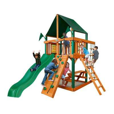 Chateau Tower Cedar Playset with Sunbrella Canvas Canopy and Timber Shield Posts