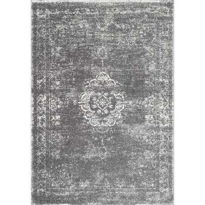 Tanja Overdyed Medallion Grey 9 ft. x 12 ft. Area Rug