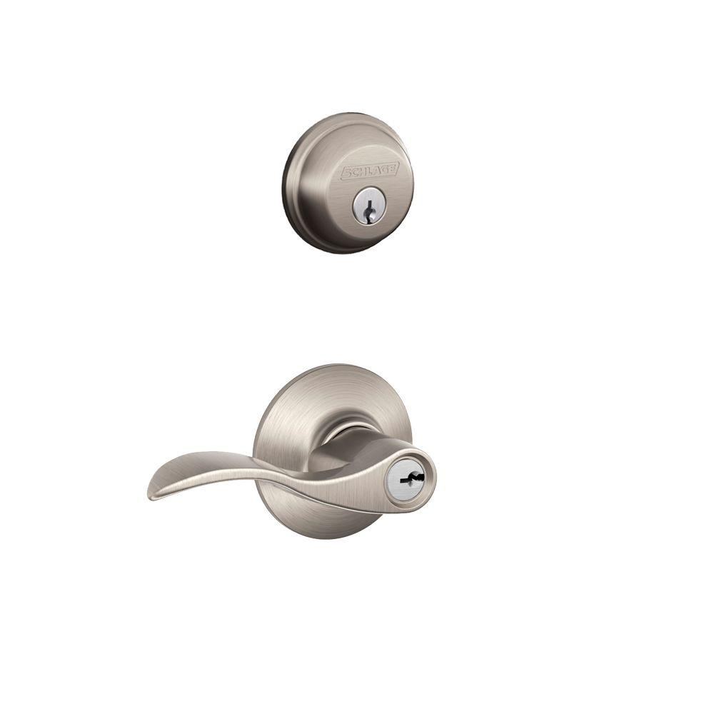 Accent Satin Nickel Single Cylinder Deadbolt and Entry Door Lever Combo Pack  sc 1 st  The Home Depot : door levers - Pezcame.Com