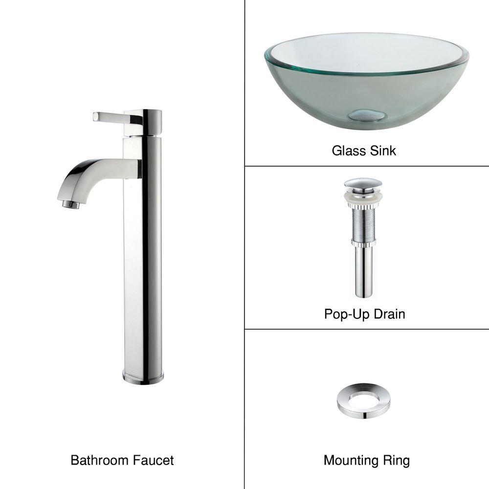 Glass Vessel Sink with Single Hole Single-Handle High-Arc Ramus Faucet in