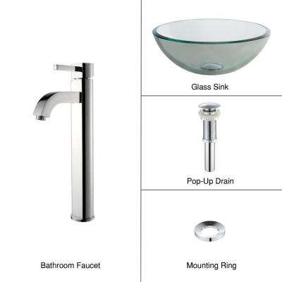 Glass Vessel Sink with Single Hole Single-Handle High-Arc Ramus Faucet in Chrome