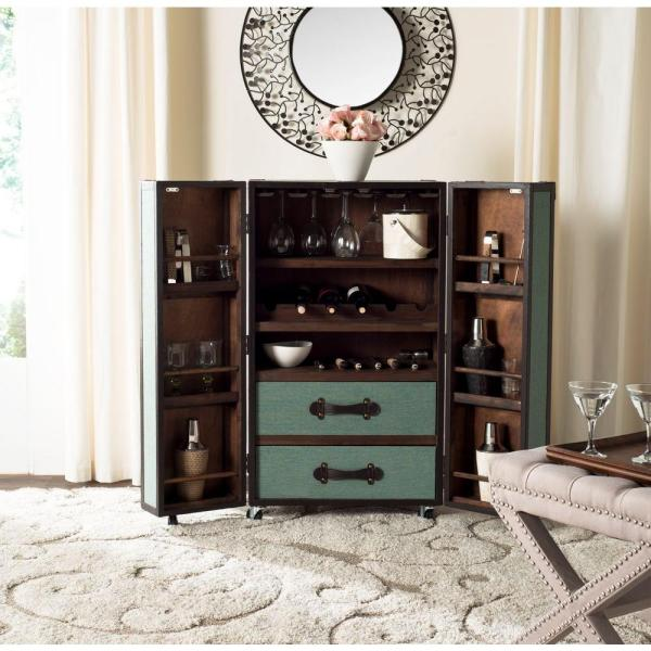 Safavieh Lexington Wood Bar Cabinet in Sage FOX9511B