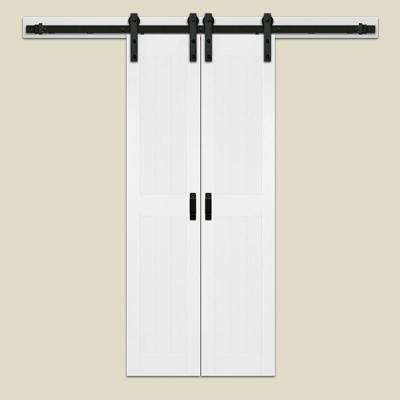 36 in. x 84 in. Bright White Duplex Bi-Parting Interior Barn Door with Rustic Hardware Kit
