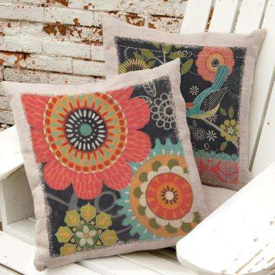 Happy Day Oyster Floral Decorative Pillow