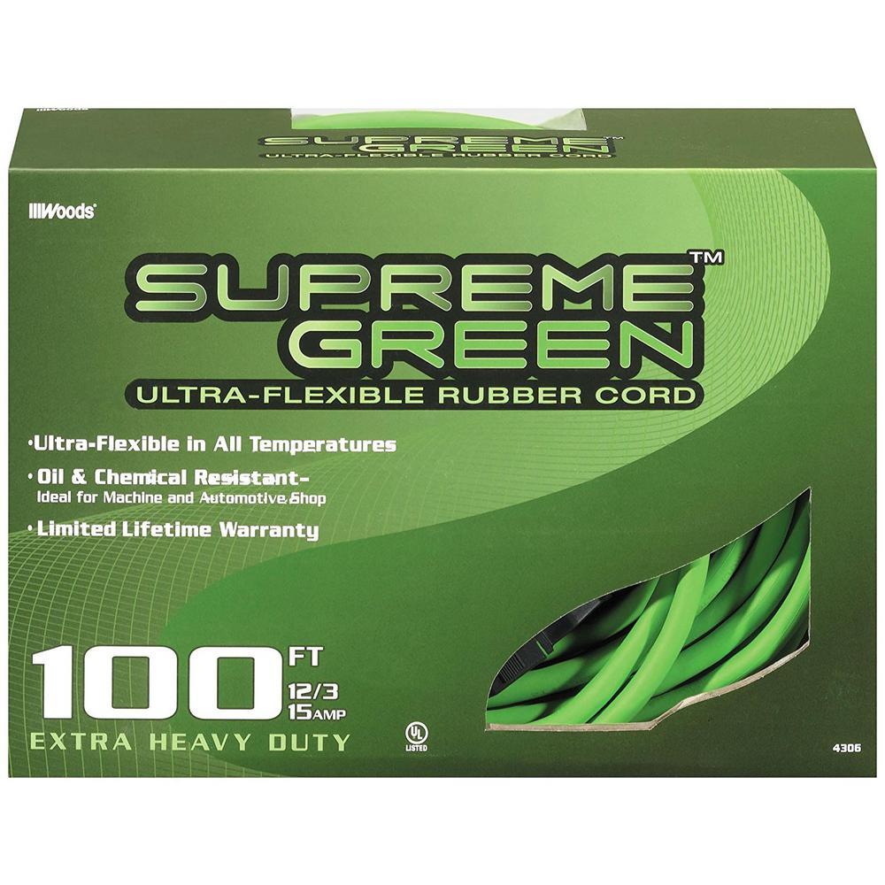 100 ft. 12/3 SJOW Ultra-Flex Supreme Green Rubber Outdoor Medium-Duty Extension Cord