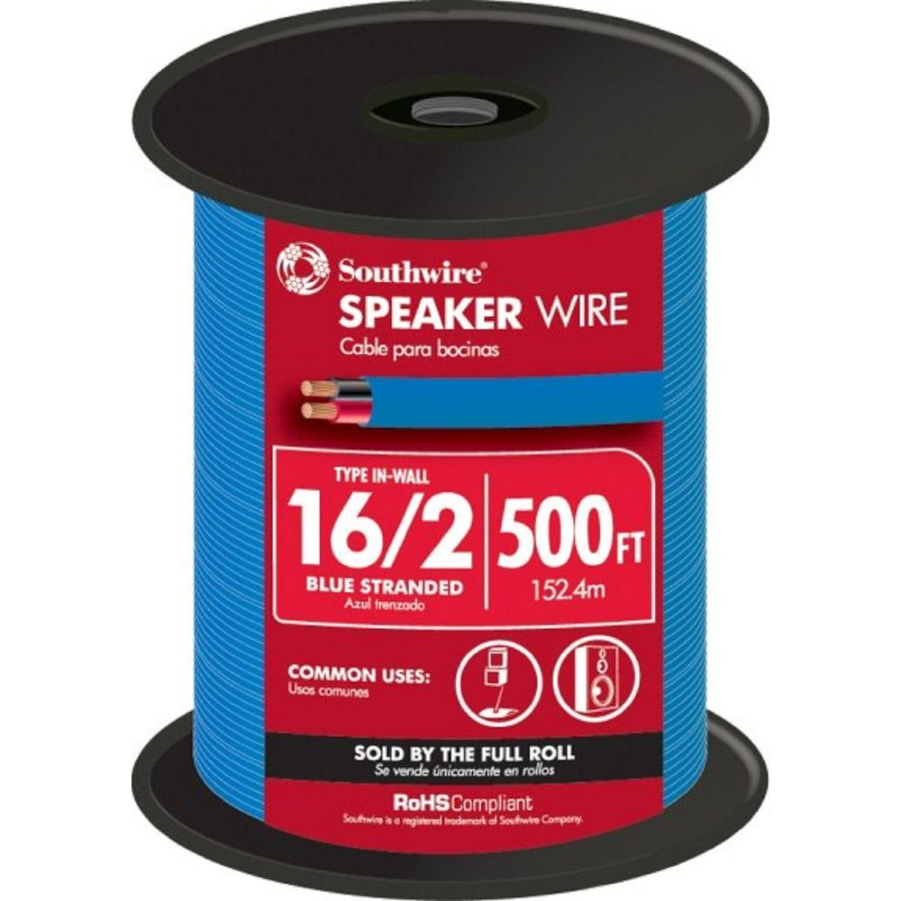 500 ft. 16-2 Blue Stranded CU In-Wall Speaker CL3 Wire