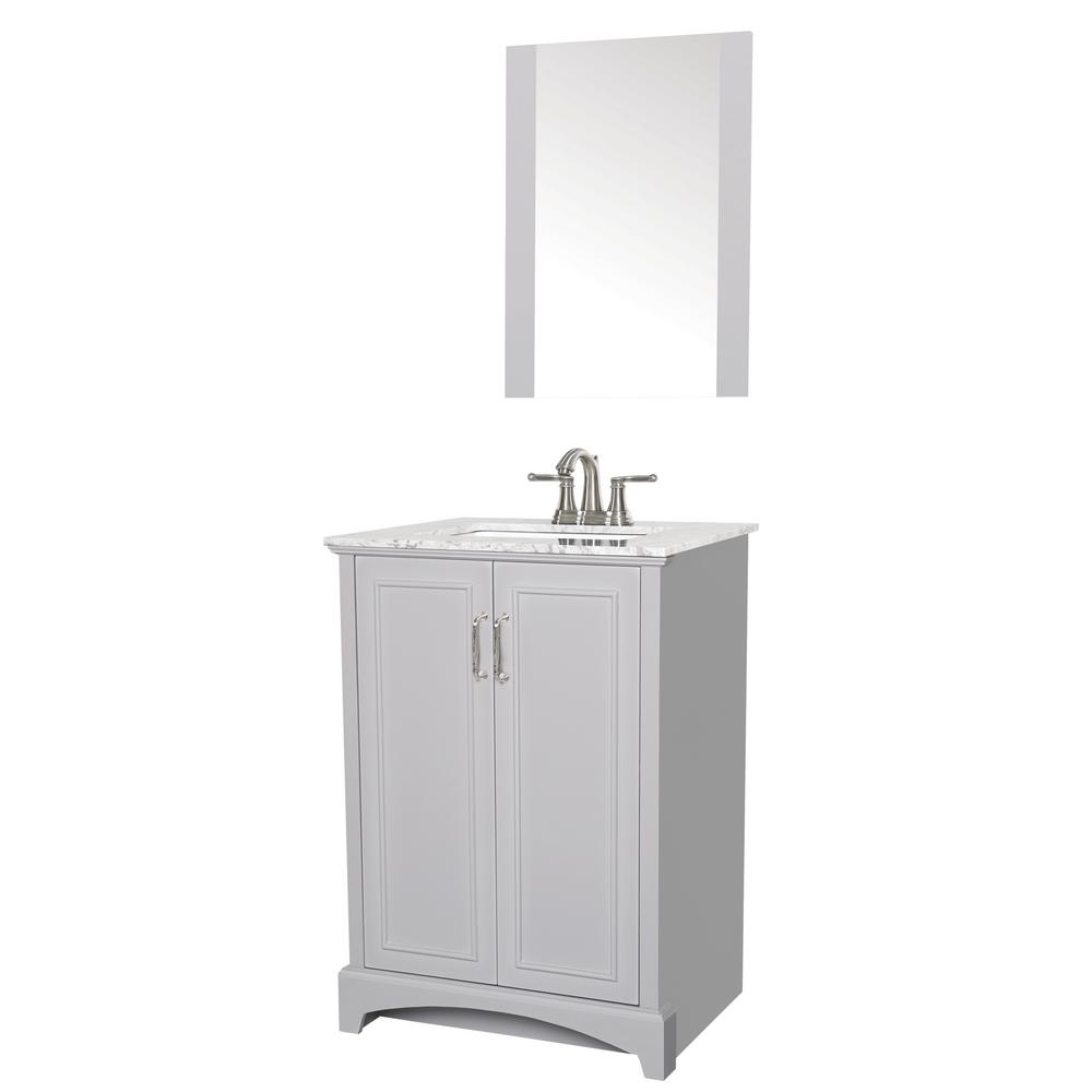 Sheffield Home Madison 24 in. W x 19 in. D Bath Vanity in Gray with Engineered Stone Vanity Top in Gray with White Basin and Mirror