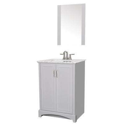 Madison 24 in. W x 19 in. D Bath Vanity in Gray with Engineered Stone Vanity Top in Gray with White Basin and Mirror