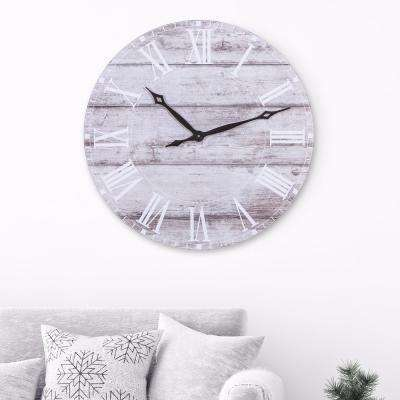 Rustic White Wash Wood Plank Wall Clock