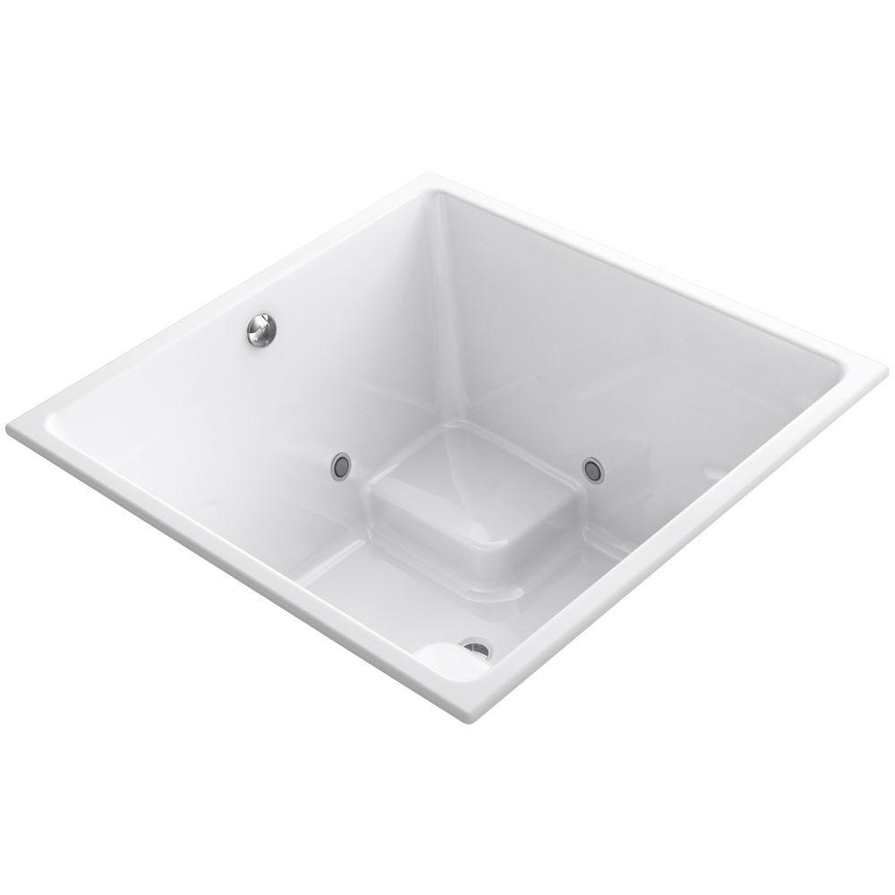 KOHLER Underscore 4 ft. Square Center Drain VibrAcoustic Bathtub in ...
