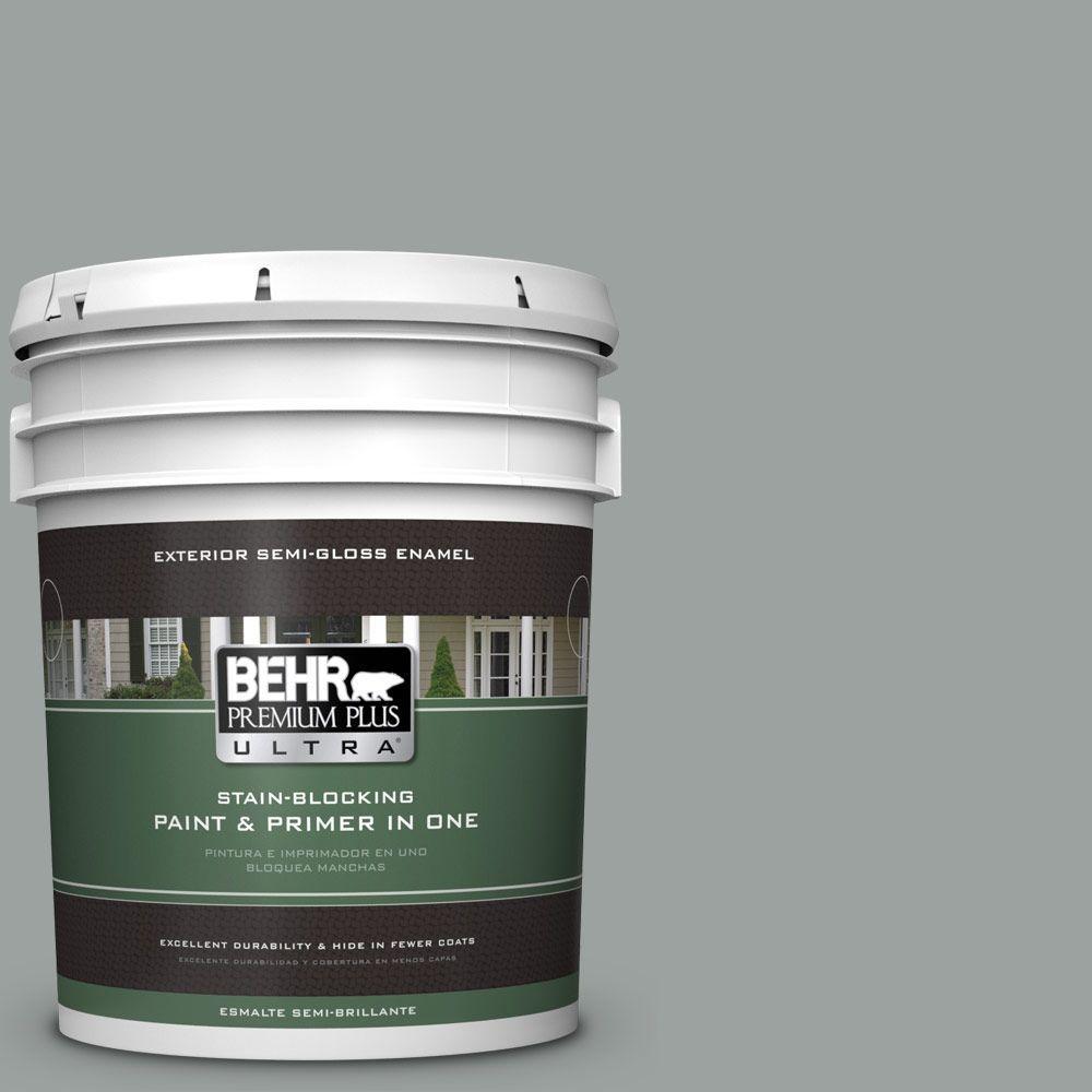 5-gal. #PPU11-16 Brampton Gray Semi-Gloss Enamel Exterior Paint