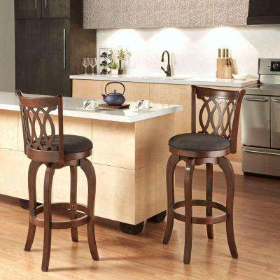 29 in. Loehr Cherry Swivel Cushioned Bar Stool