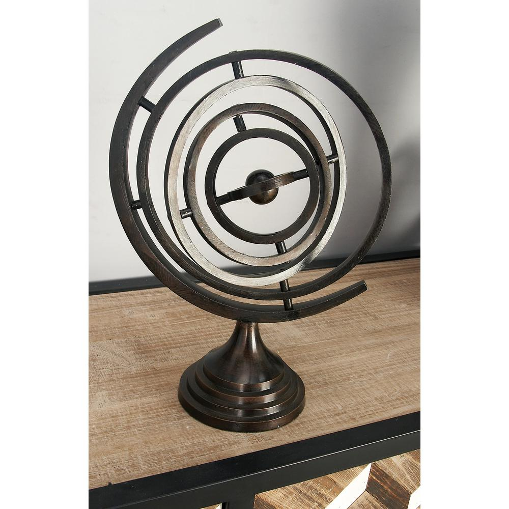 14 in. Armillary Sphere Decor in Tarnished Copper Brown