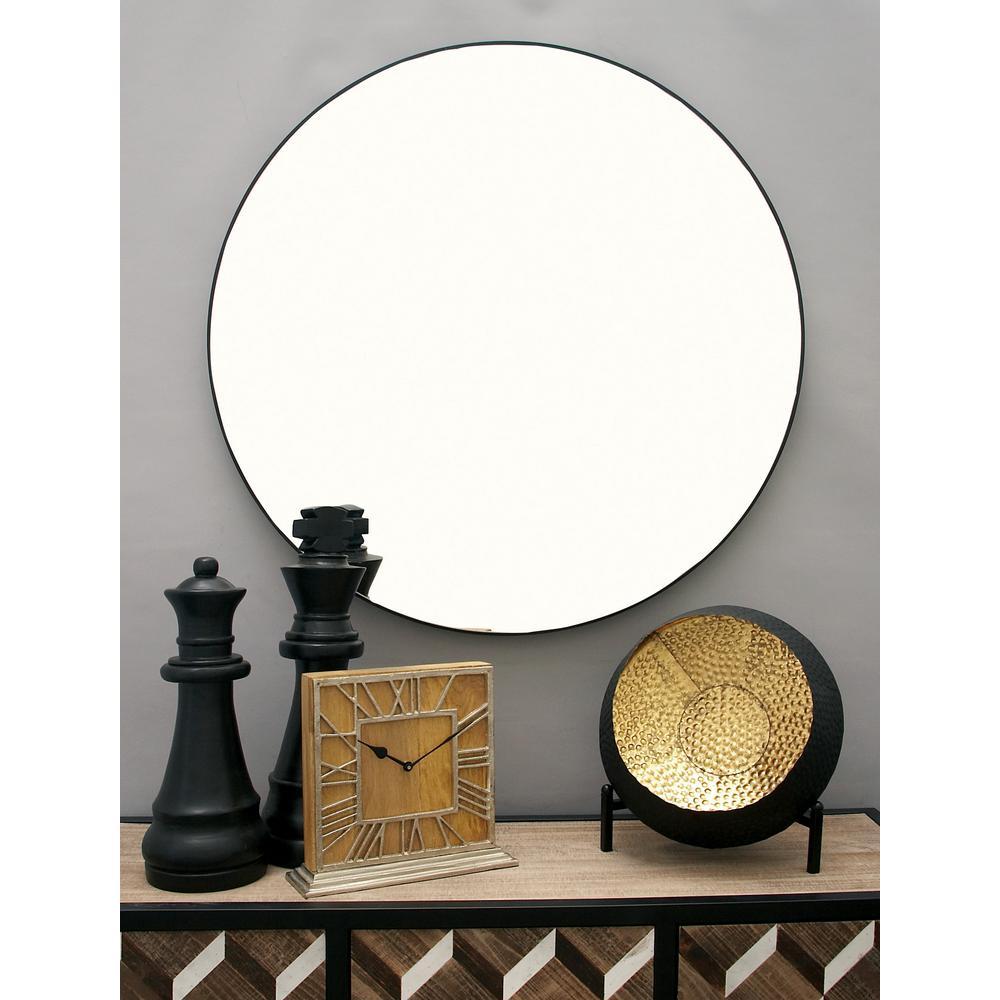 36 in. Modern Circular Black Wall Mirror