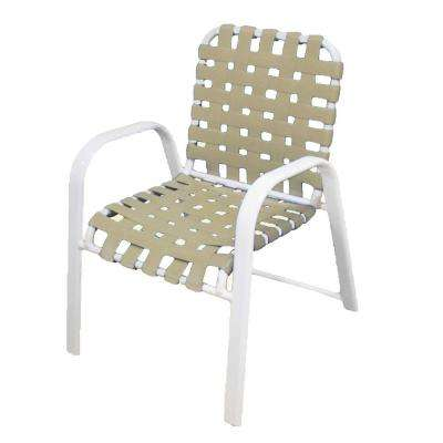 Marco Island White Commercial Grade Aluminum Patio Dining Chair with Putty Vinyl Cross Straps (2-Pack)