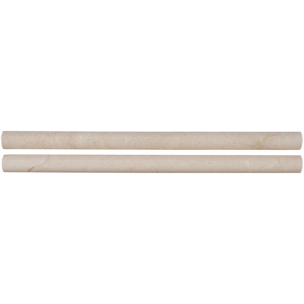 Black Absolute Border Liner Molding Trim Bullnose Marble 3//4 x 12 Polished Pencil