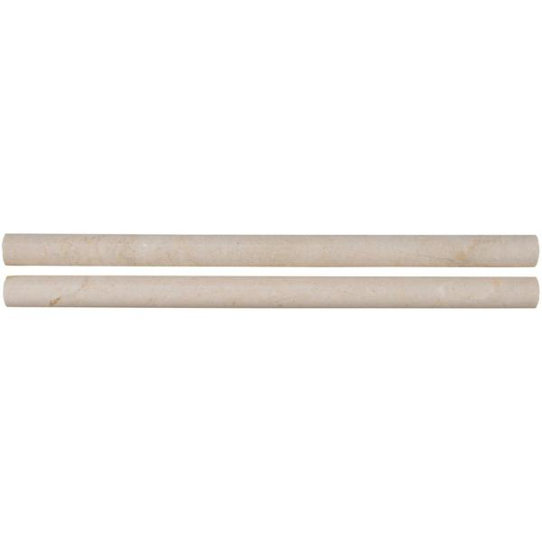 Crema Marfil Pencil Molding 3/4 in. x 12 in. Polished Marble Wall Tile (10 lin. ft. / case)