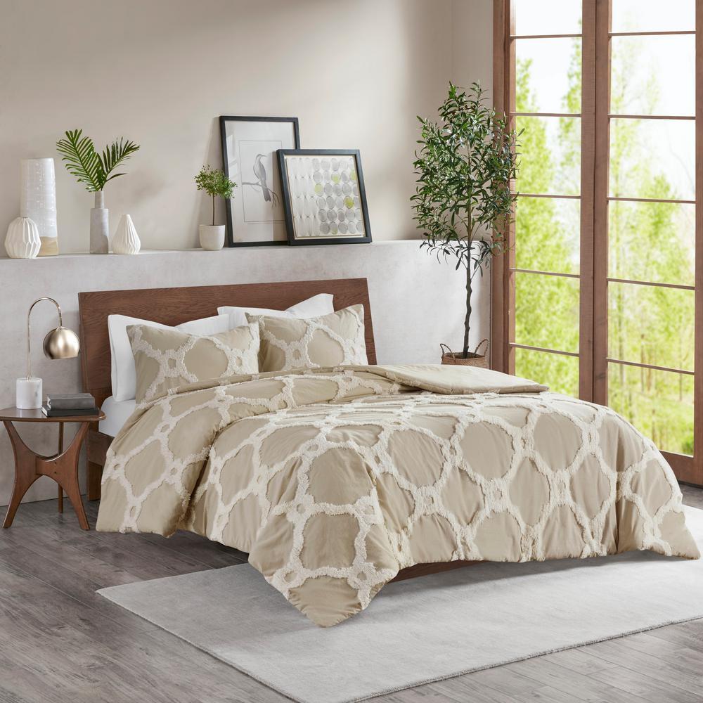 Nollie 3-Piece Taupe Full/Queen Tufted Cotton Comforter set
