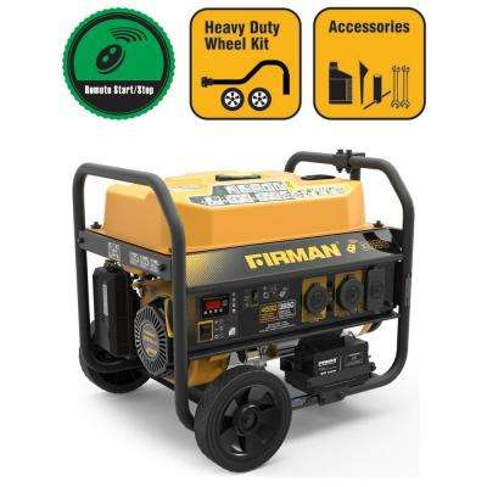 3650-Watt Power Equipment Gasoline Powered Portable Remote Start Generator with Wheel Kit CARB Compliant