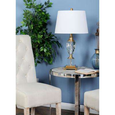 28 in. Clear Glass Urn-Shaped Table Lamp with Gold Accents and White Shade